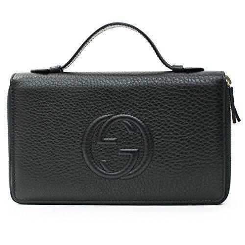 Gucci Soho Black Travel Double zip Leather top Bag Handbag Purse Wallet New