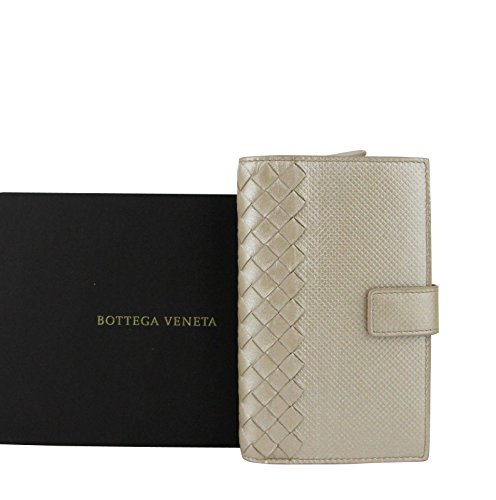 Bottega Veneta Intrecciato Beige Leather Shimmer Wallet
