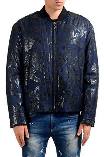 Versace Men's 100% Wool Designed Bomber Parka Jacket