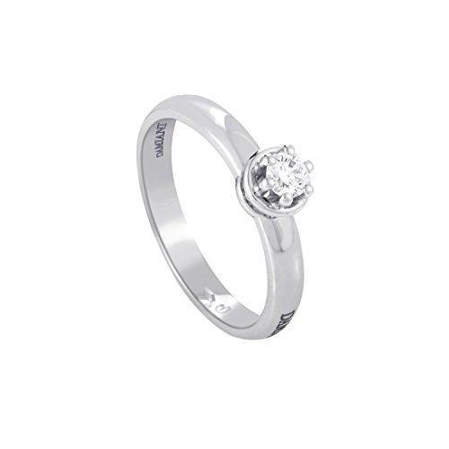 Damiani 18K White Gold .19ct Diamond Solitaire Engagement Ring
