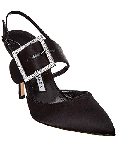 Manolo Blahnik Beladona Satin Crystal Buckle Pump, 38, Black