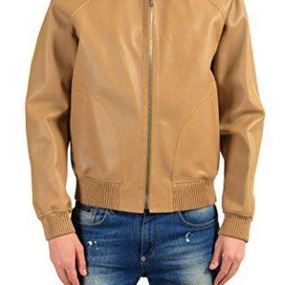 Gucci Men's 100% Leather Beige Full Zip Hooded Jacket Size US M IT 50