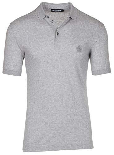 Dolce & Gabbana Men's Gray Crown 'Corona' Short Sleeve Polo Shirt