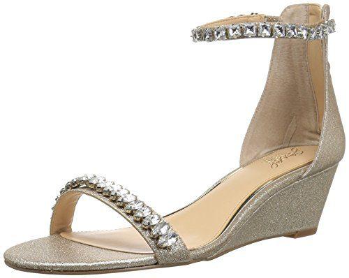 Badgley Mischka Jewel Women's Mel Wedge Sandal, Gold Glitter