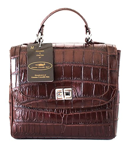 Authentic M Crocodile Skin Womens Belly W/Strap Clutch Shoulder Bag