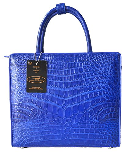 Authentic M Crocodile Skin Womens Belly Leather Satchel Bag