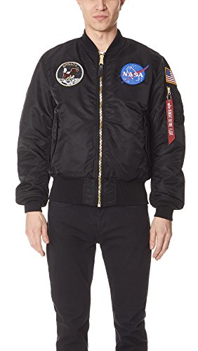 Alpha Industries Men's NASA Apollo MA-1 Bomber Jacket, Black, X-Large