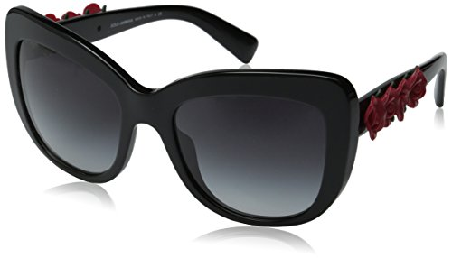 D&G Dolce & Gabbana Women's Square Sunglasses, Shiny Black, 55 mm