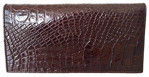 Authentic M Crocodile Skin Women's Long Bifold Belly Checkbook Wallet