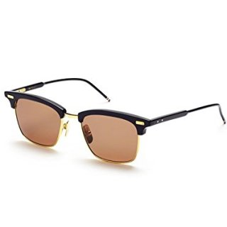 Sunglasses THOM BROWNE Navy18K Gold w/ Dark Brown-AR