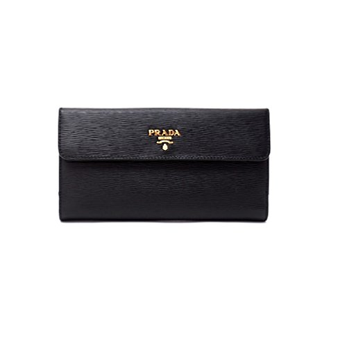 Prada Womens Vitello Move Leather Wallet Nero (Black)