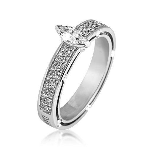 Damiani D.Side Brad Pitt 18K White Gold Marquise Diamond Engagement Ring