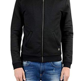 Versace Collection Black Full Zip Men's Basic Jacket