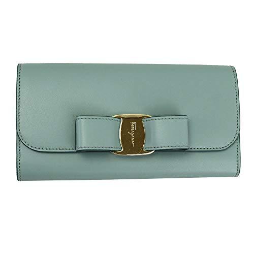 Salvatore Ferragamo Vara Blue Leather Bifold Long Wallet Blue Haze
