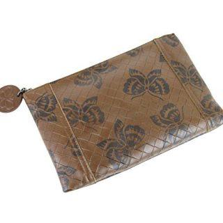 Bottega Veneta Brown Intrecciomirage Leather Pouch Bag Butterfly Clutch
