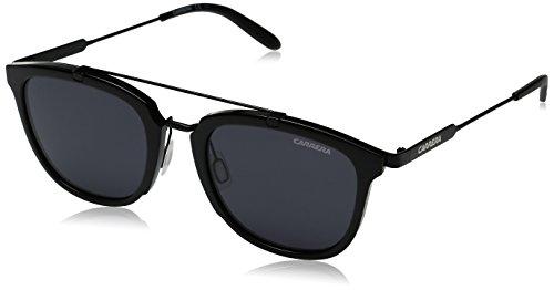Carrera Men's Square Sunglasses, Shiny Matte Black/Gray Blue