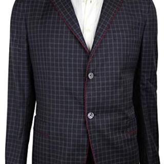 Gucci Men's Gauze Dark Blue/Burgundy/Gray Wool 2 Buttons Jacket