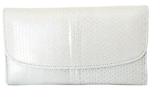 Authentic Snake Skin Women's Long Trifold Sea Snake Off-White Wallet