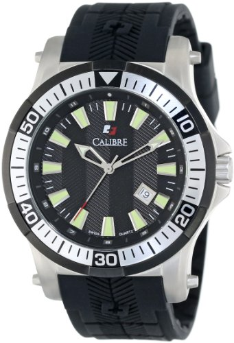 """Calibre Men's """"Hawk"""" Stainless Steel and Black Rubber Watch"""