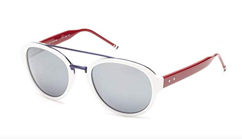Sunglasses THOM BROWNE WhiteMatte Navy w/ Dark GreySilver Mirro