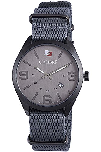 """Calibre Men's """"Trooper"""" Gun Ion-Plated Stainless Steel Watch"""