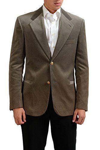 Versace Gray Two Buttons Men's Velour Blazer