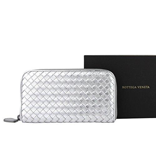Bottega Veneta Woven Silver Metallic Leather Zip Around Wallet