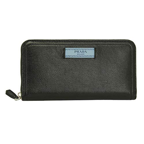 Prada Black Leather Long Wallet Nero Zip Around