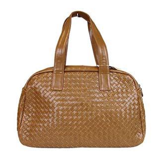 Bottega Veneta Women's Brown Leather Woven Dome Boston Bag