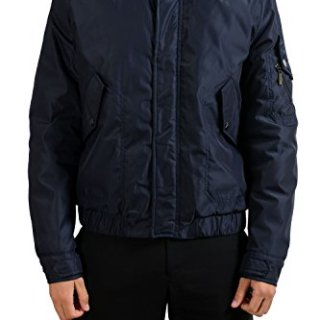 Versace Collection Men's Dark Blue Insulated Hooded Jacket