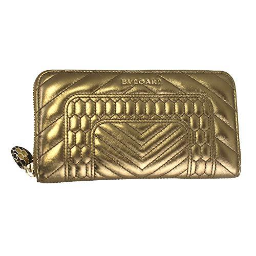 Bvlgari Serpenti Forever Gold Leather Zip Around Long Wallet