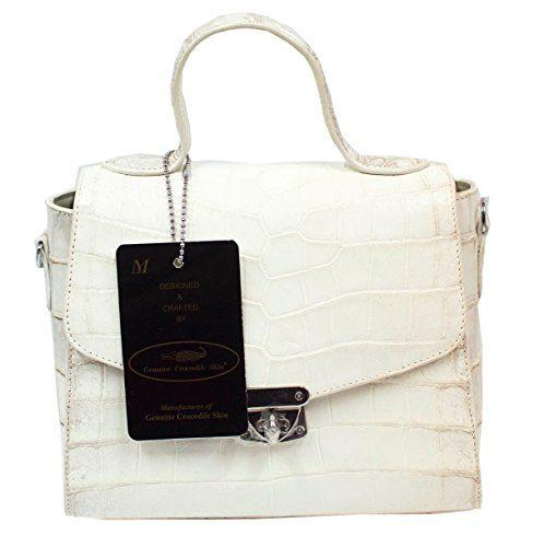 Authentic M Crocodile Skin Womens Belly Clutch Shoulder Bag Purse
