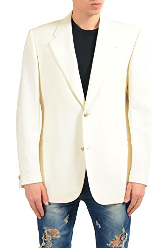 Versace Men's Linen Wool Off White Two Button Blazer Sport Coat