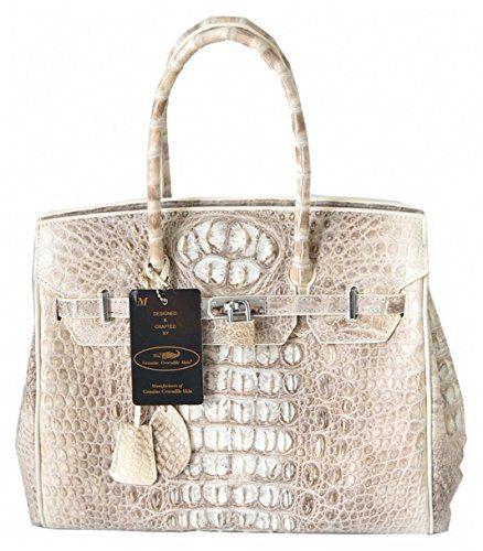 Authentic M Crocodile Skin Womens Double Hornbacks Leather