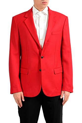 Versace Men's 100% Wool Red Two Button Blazer Sport Coat