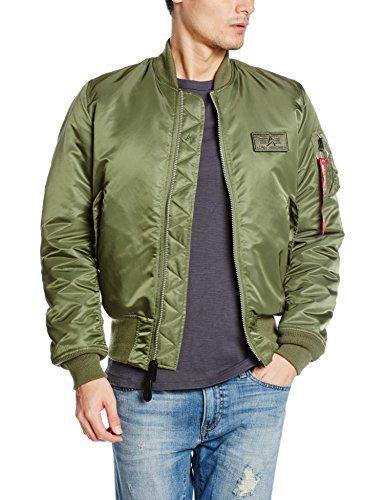 Alpha Industries Flight Jacket Men's Bomber Jacket V-Green (X-Large)
