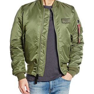 Alpha Industries Flight Jacket Men's Bomber Jacket V-Green (X-Large)