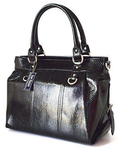 Authentic Snake Skin Women's Bag Purse Hobo Shiny Black Handbag