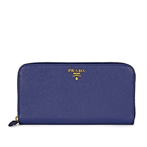 Prada Saffiano Leather Continental Wallet - Bluette