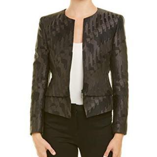 Akris Womens Silk-Lined Wool Jacket, 6, Black