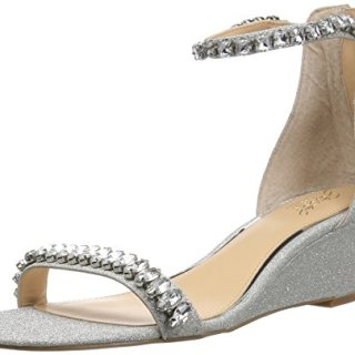 Badgley Mischka Jewel Women's Mel Wedge Sandal, Silver Glitter