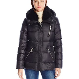 Andrew Marc Women's Chloe Dyed Fox Fur Detachable Collar Down Coat, Black, L