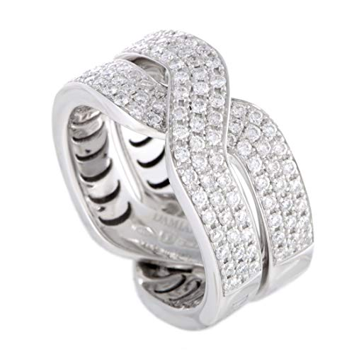 Damiani Abbraccio 18K White Gold Diamond Pave Crisscross Ring