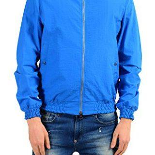 Versace Collection Men's Blue Full Zip Windbreaker Jacket