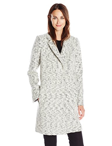 Andrew Marc Women's Boucle Wool-Blend Coat, White Out, 6