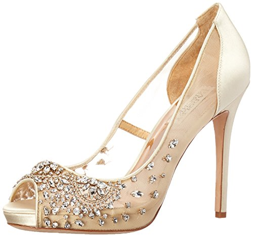 Badgley Mischka Women's Pepper Pump, Ivory Satin, 8 M US