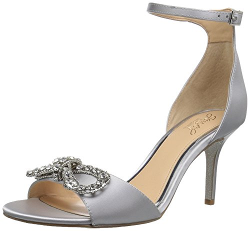 Badgley Mischka Jewel Women's Miguela Heeled Sandal, Silver Satin