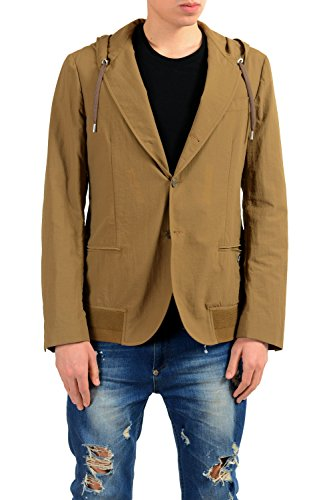 Versace Collection Men's Brown Three Button Hooded Blazer Sport Coat