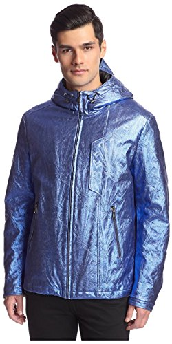 Versace Jeans Men's Metallic Hooded Jacket, Blu Astrale, 52 IT/Large