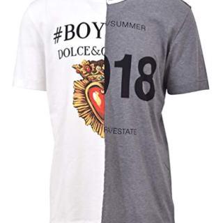 Dolce e Gabbana Men's White/Grey Cotton T-Shirt